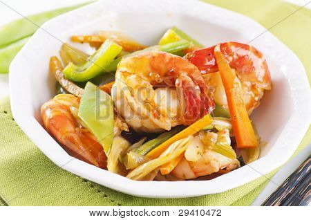 thai prawns with vegetable