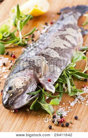 Fresh trout stuffed with fresh herbs