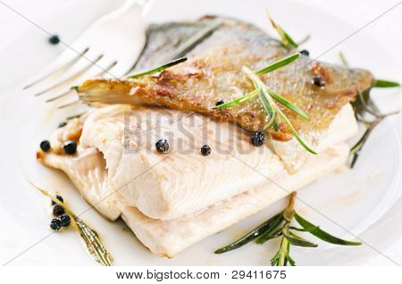 Trout fried with spices