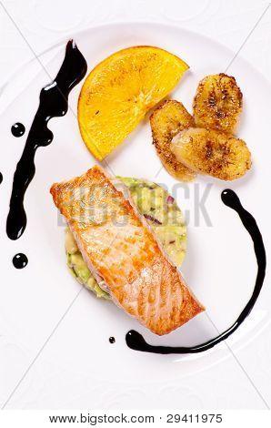 Salmon with avocado tartare and caramelised banana