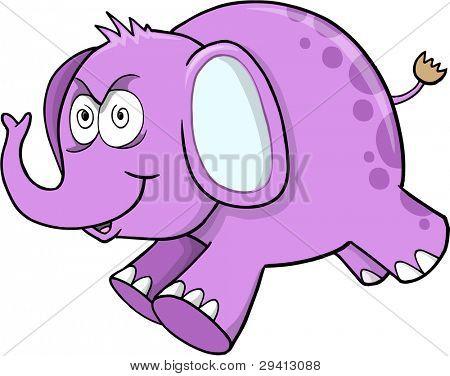 Insane Crazy Purple Elephant Safari Wildlife Vector Illustration Art