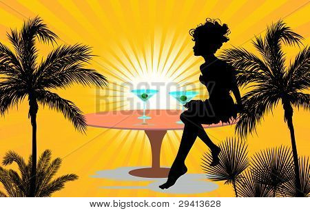 women silhouette with palm