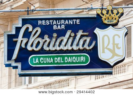HAVANA-JANUARY 15:The historic Floridita restaurant January 15,2012 in Havana.The birthplace of daiquiri,a famous cuban cocktail,El Floridita was a favorite of celebrities like Ernest Hemingway