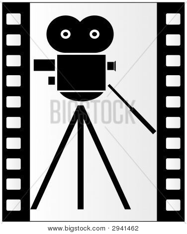 Film Strip And Movie Camera