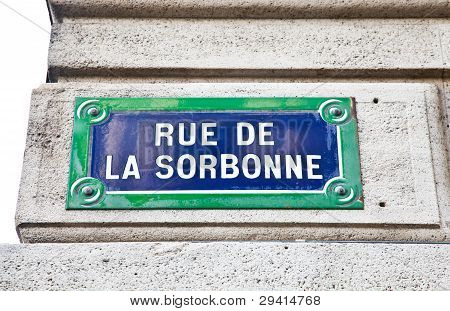 Paris - Sorbonne Street Sign