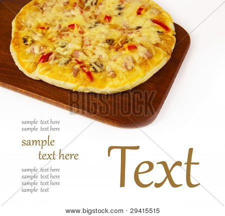Appetizing Pizza On A Wooden Board