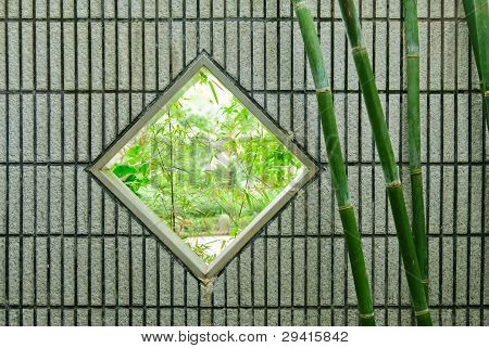 Square Chinese window on wall