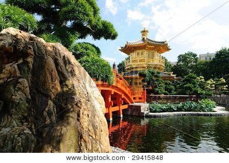 The oriental gold pavilion in Nan Lian Garden, Chi Lin Nunnery, Hong Kong