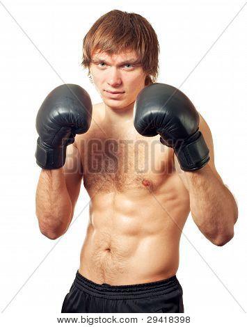 Young Caucasian Man Boxer.