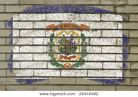 Flag Of Us State Of West Virginia On Brick Wall Painted With Chalk
