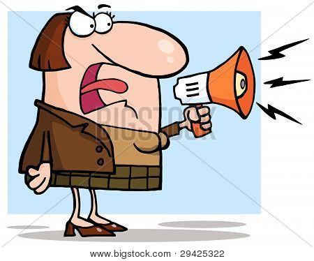 Angry Business Woman Yelling Through A Megaphone