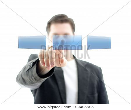 Business Man Pushing An Empty Button On A Touch Screen Interface. Place For Your Text. Isolated On W