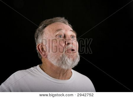 Old Man Looking Up Shocked
