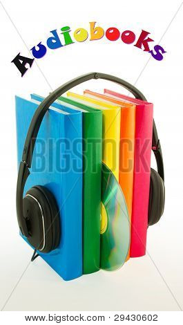 Row Of Books And Headphones - Audiobooks Concept