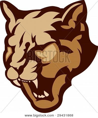Cougar Mascot Head Vector Illustration