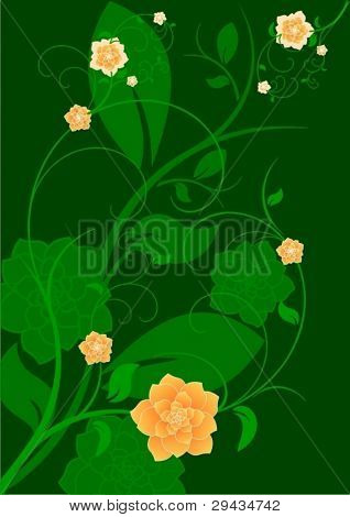 Vector floral green background