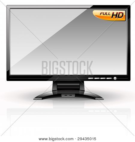 LCD Panel: Gray variant. Editable vector