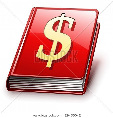 Easy to edit vector book with shadow (version with sign on cover). Editable Vector.