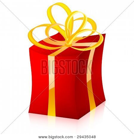 Easy to edit vector gift box (red variant)