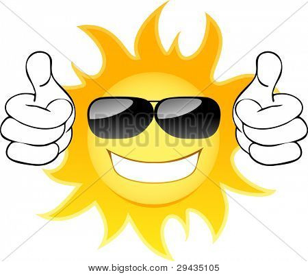 Smiling sun with glasses. Vector illustration