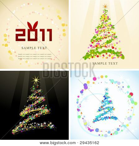 Set of various New Year cards 1, editable vector illustration