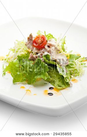 Salad with Tuna, Fresh Vegetables and French Mustard and Roast Potato Chips