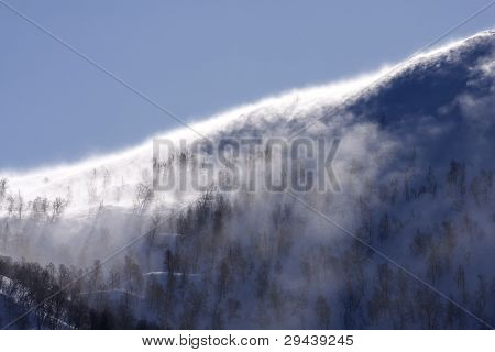 Blizzard in the mountain.