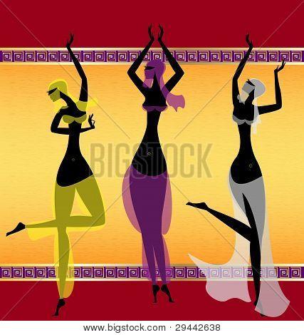 drei orientalische Mädchen tanzen