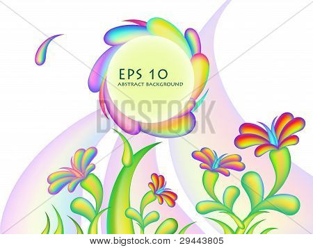 Abstract Bright Glossy Flower  Background Design