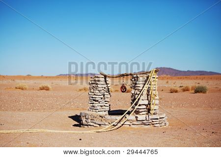 alone  well in Sahara desert,Morocco