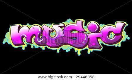 Graffiti Urban Art Vector Illustration. Music