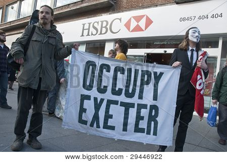 Occupy Exeter Activists Campaign Outside Exeter Branche Of Hsbc Bank