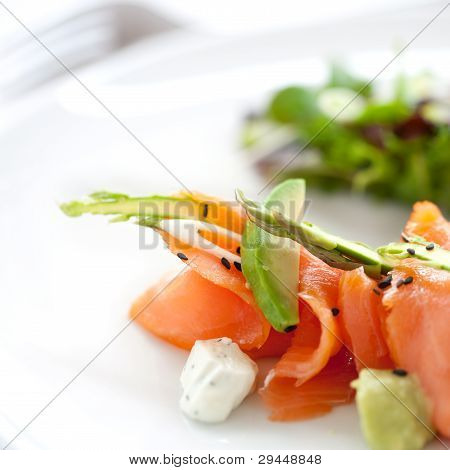 Close Up Smoked Salmon Salad