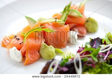 Salmon Salad With Green Asparagus