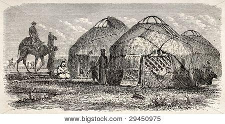 Kalmyk encampment old illustration, Russia. Created by Moynet, published on Le Tour du Monde, Paris, 1867