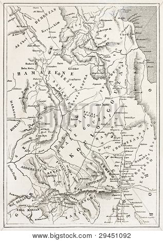 Ethiopia old map, from Massawa to Adwa. By unidentified author, published on Le Tour du Monde, Paris, 1867