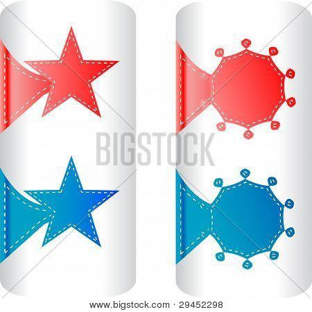 stylish colorful set of labels in the form of stars badges stickers