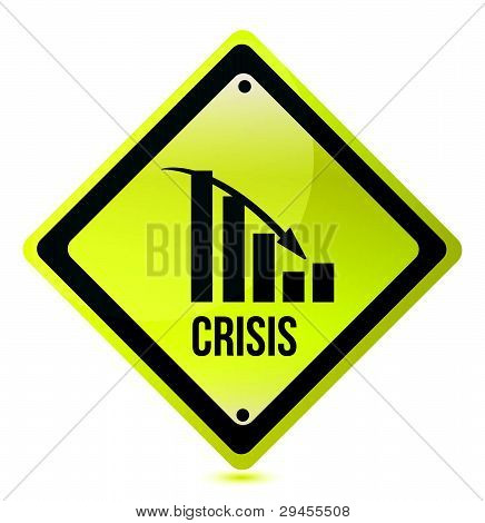 crisis ahead graph yellow traffic sign