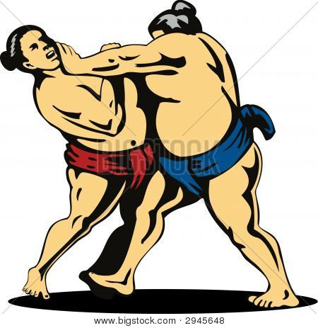 Sumo Wrestler Grappling