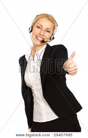 Beautiful business woman with headset showing ok. Call center