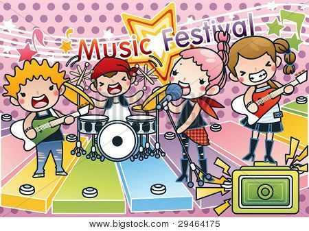 Singing Cute Young Children with Happy Music Festival - Rock & Roll Kids with various musical instruments