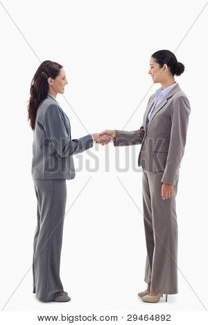Two businesswomen shaking hands against white background