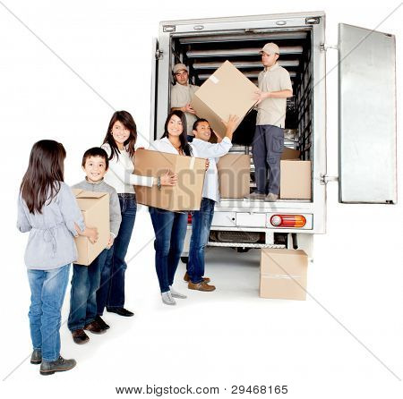 Family moving house taking boxes into a truck - isolated over a white background