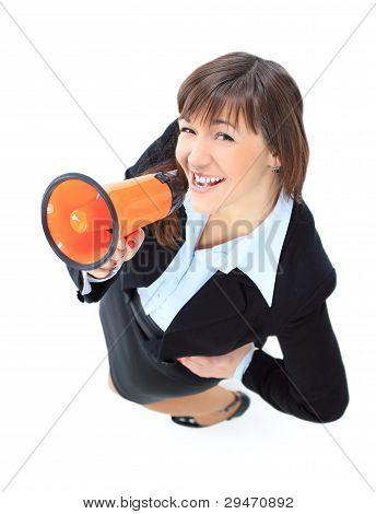 Top view of business woman speak in megaphone