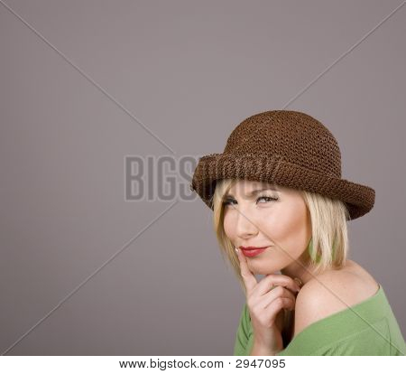 Blonde Brown Hat Finger On Lips