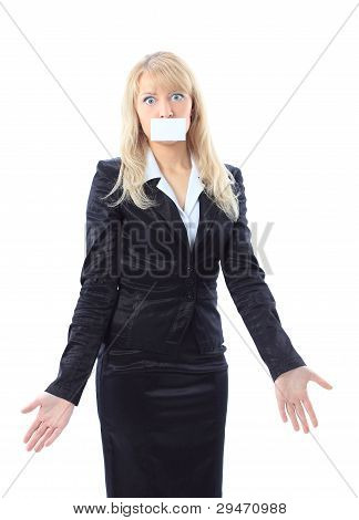 beautiful surprised woman holding a white card covering her mouth