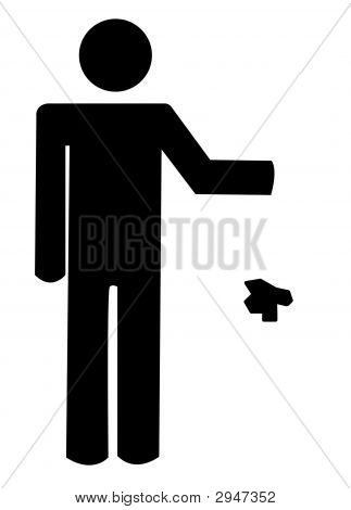 Stick Man Throwing Garbage