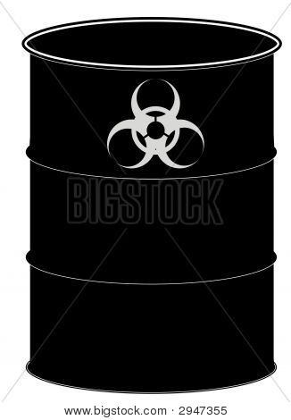 Barrel Black W Biohazard Sign
