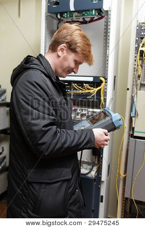 Engineer With Telecom Analyzer