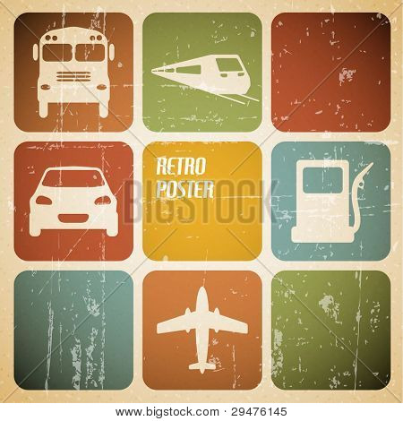 Vector vintage transport (traffic) poster with place for your text